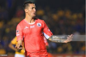 MONTERREY, MEXICO - OCTOBER 27: Leonardo Javier Ramos (R) of Lobos BUAP celebrates after scoring the first goal of his team during a 14th round match between Tigres UANL and Lobos BUAP as part of Torneo Apertura 2018 Liga MX at Universitario Stadium on October 27, 2018 in Monterrey, Mexico. (Photo by Alfredo Lopez/Jam Media/Getty Images)